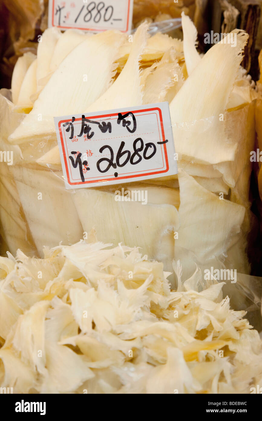 Shark fins on sale medicinal and herb district Bonham Strand, Sheung Wan, Hong Kong, China. - Stock Image
