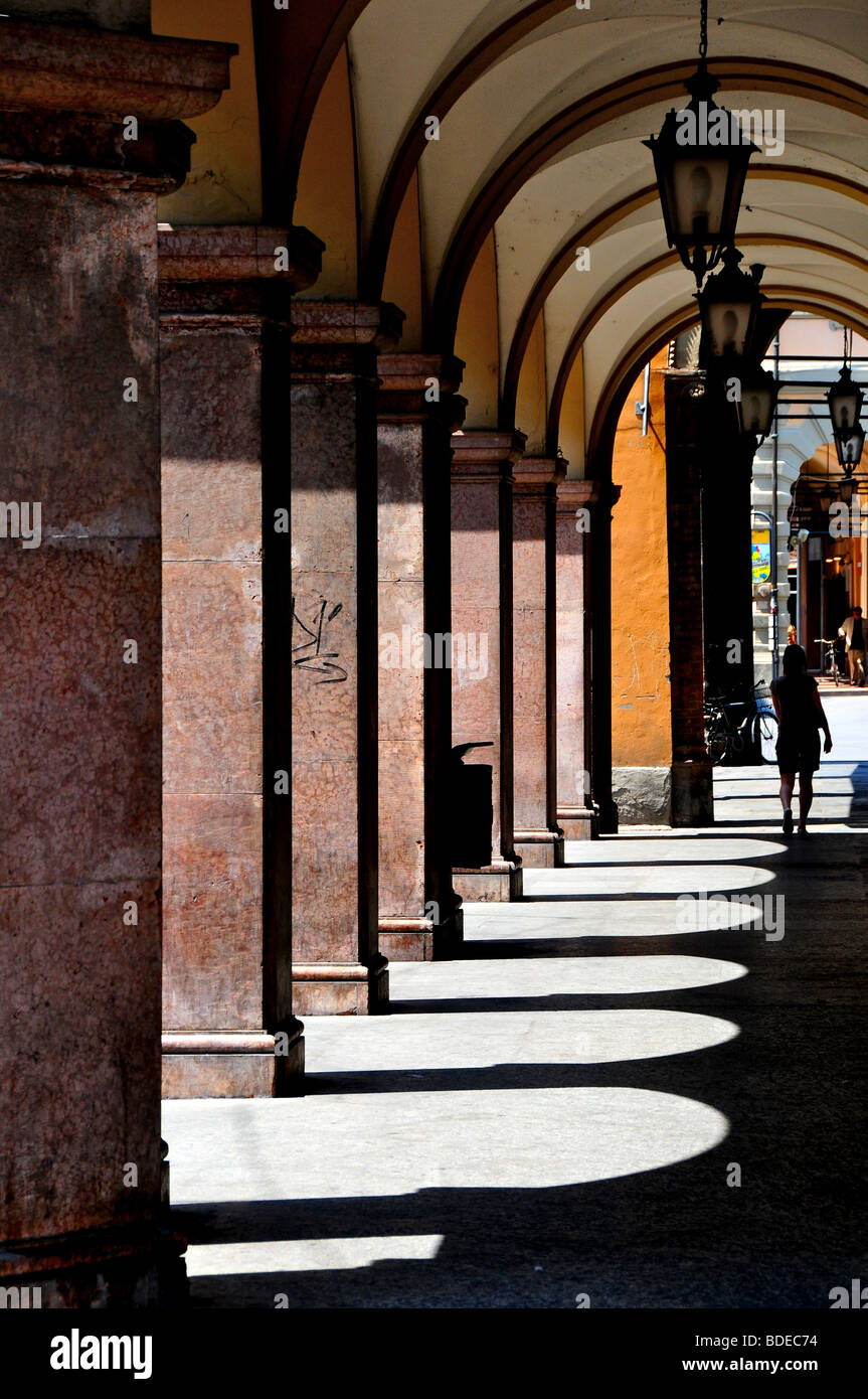 Portico in the town centre of Modena, Italy - Stock Image