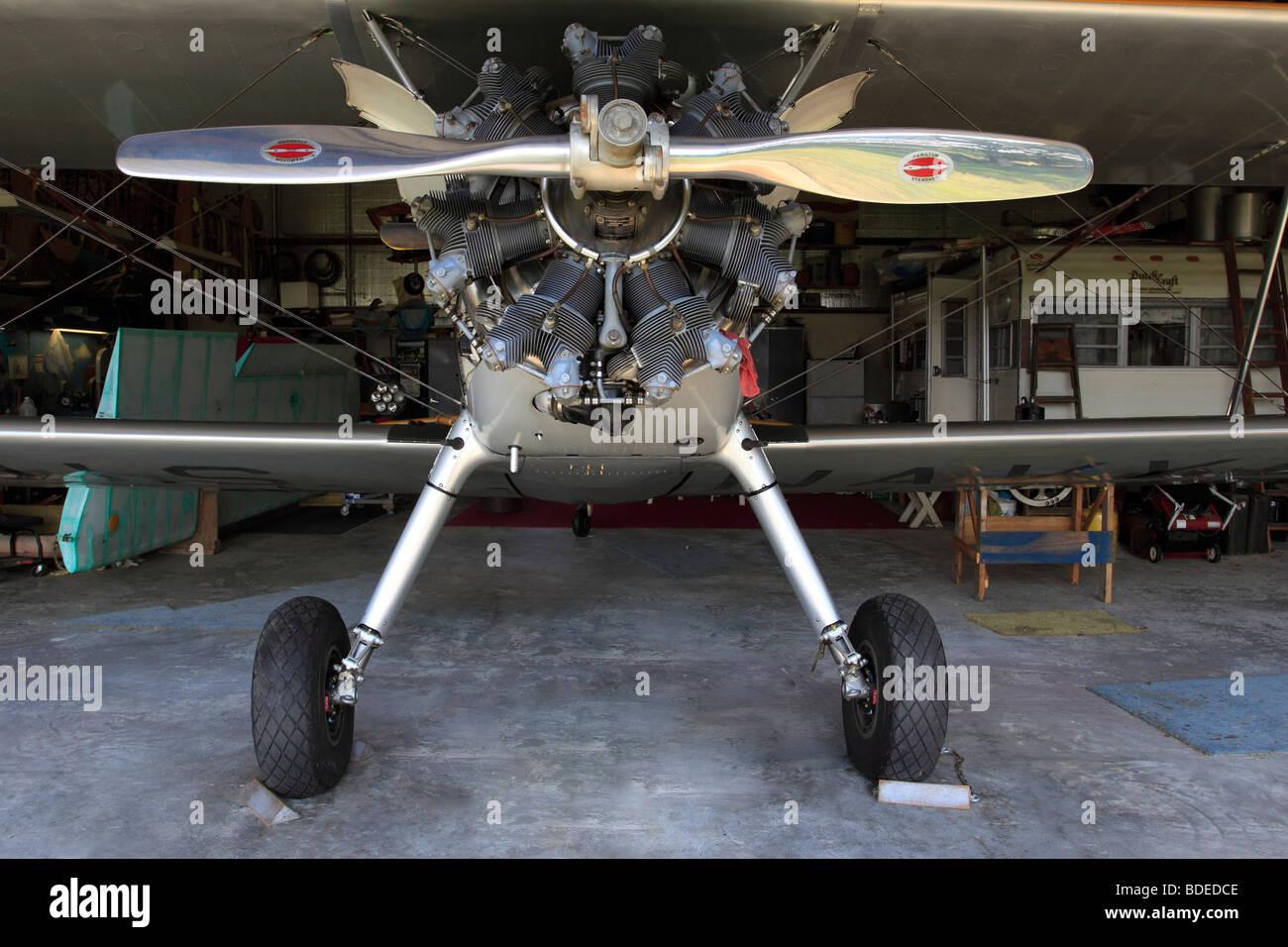 Bi-plane with radial engine, Bayport Aerodrome, Long Island, NY - Stock Image