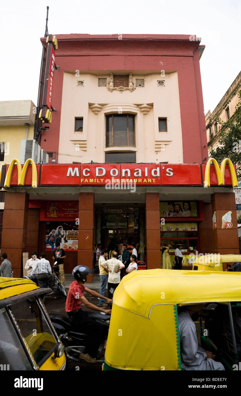 Exterior of McDonald's fast food restaurant in Delhi. India. - Stock Image
