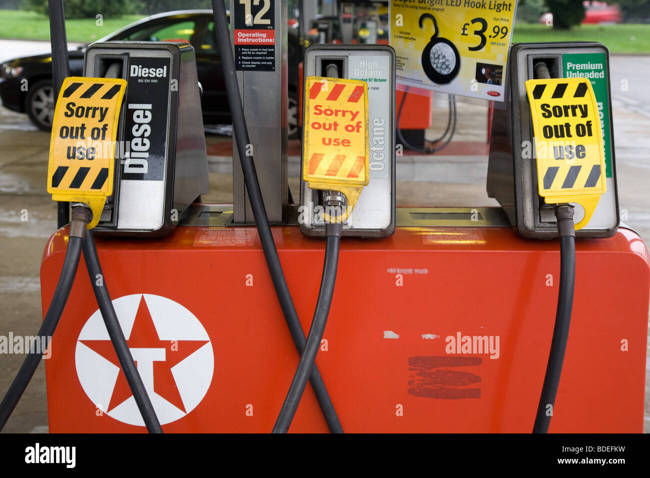 Fuel Pumps Closed At A Petrol Station - Stock Image