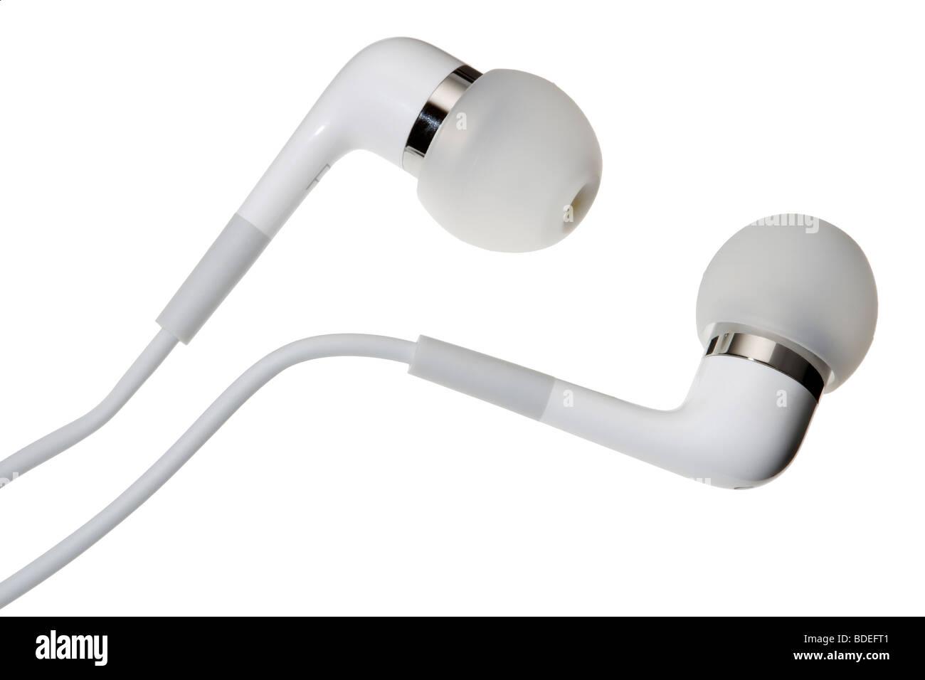 White Apple ipod earphones - Stock Image