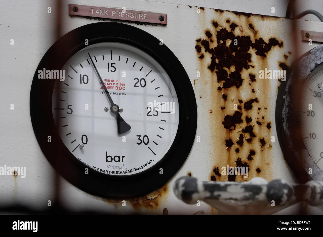 tank pressure gauge - Stock Image