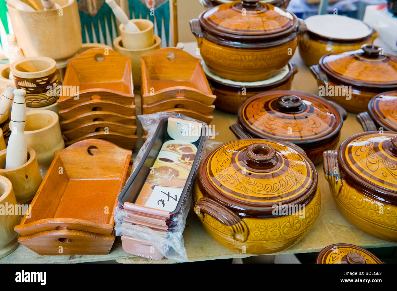 Kitchen utensils for sale at annual festival market at St Gerasimos Monastery on the Greek island of Kefalonia Greece Stock Photo