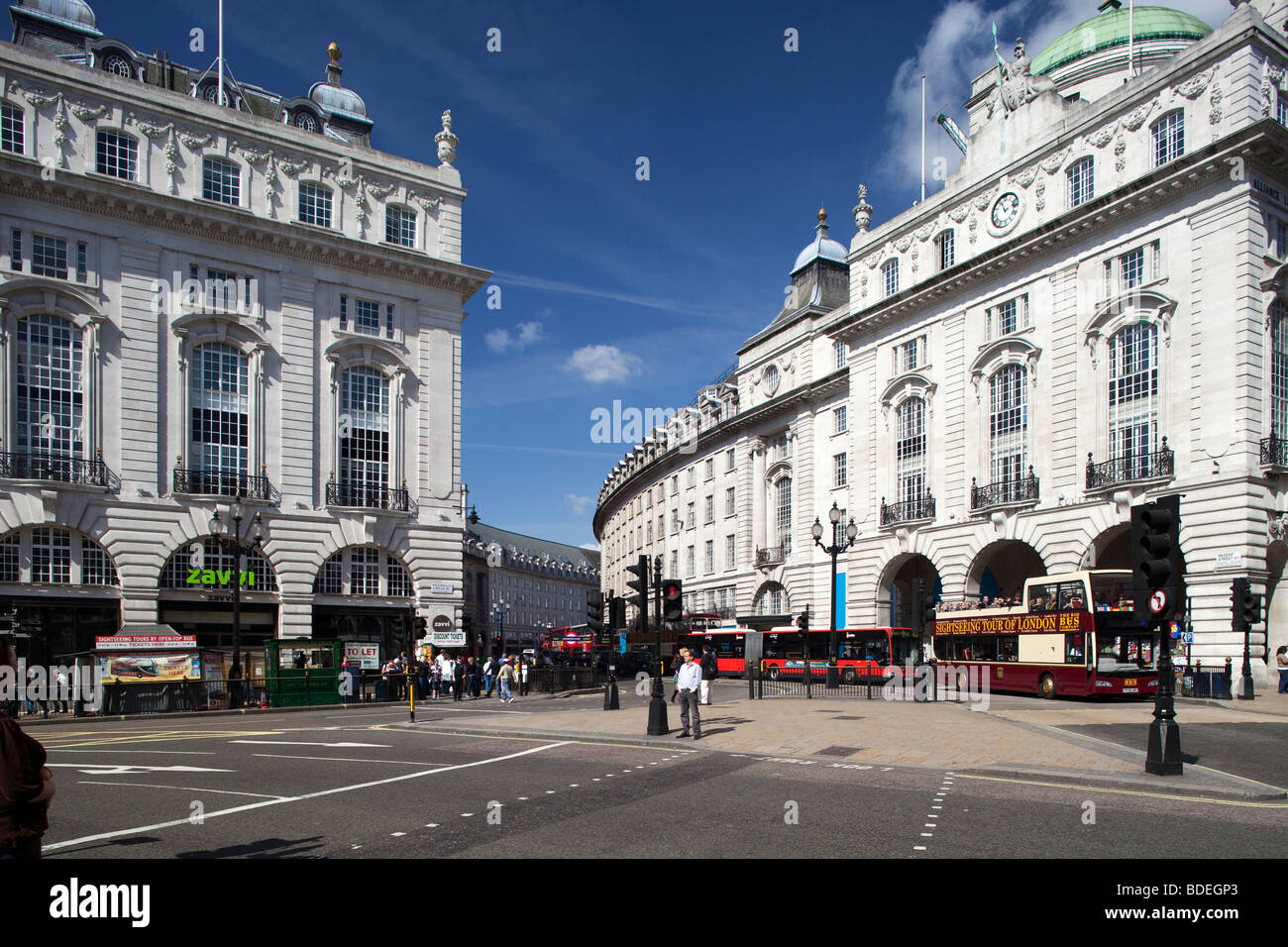 Regent Street from Picadilly Circus, Westminster, London, England, United Kingdom - Stock Image