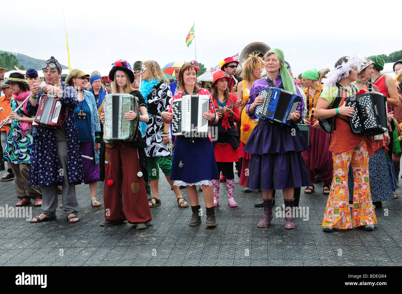 Troup of Belgian entertainers at the Pontardawe Festival Glamorgan Wales Cymru UK - Stock Image