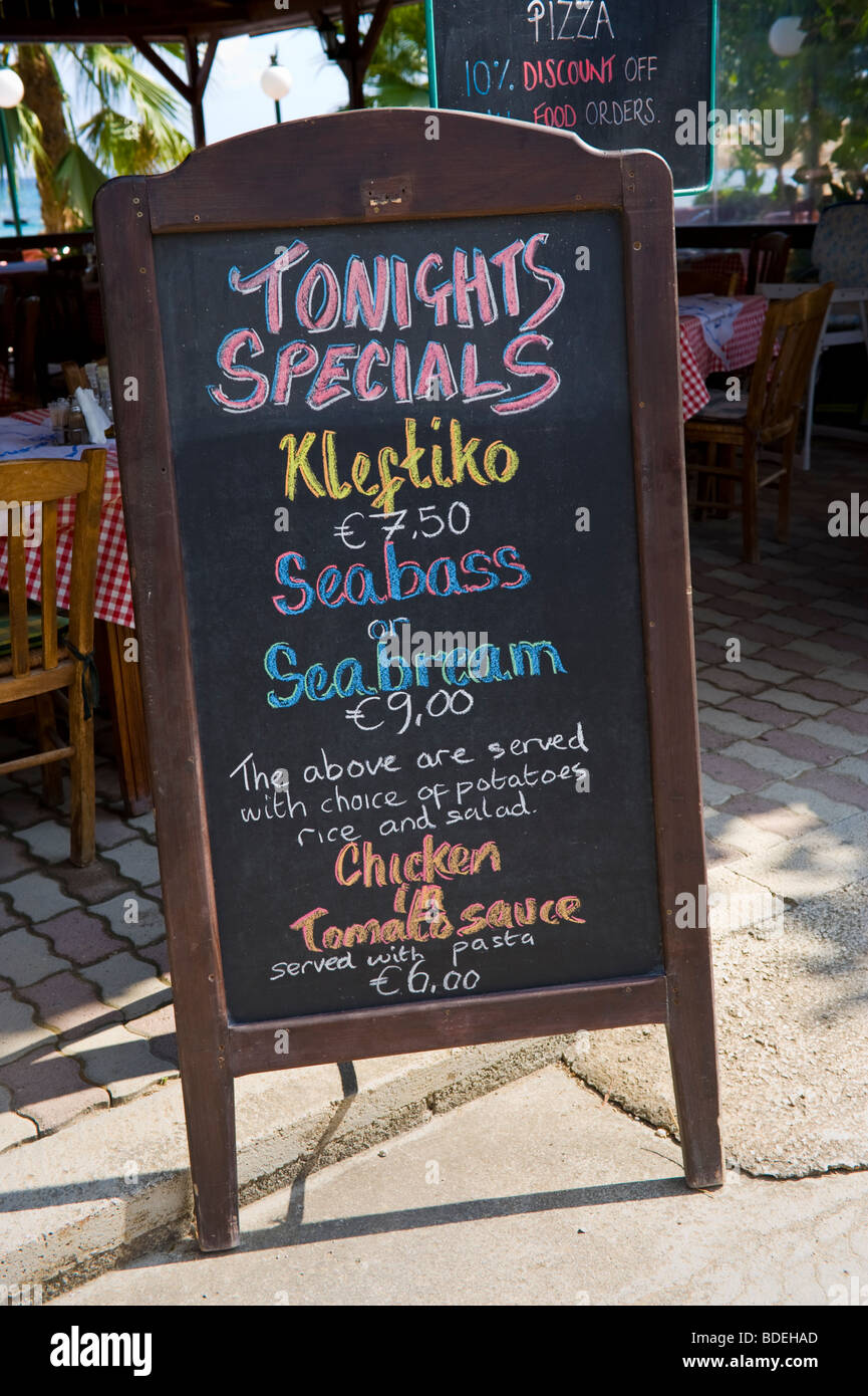 chalk board menus with daily fish specials outside restaurant in