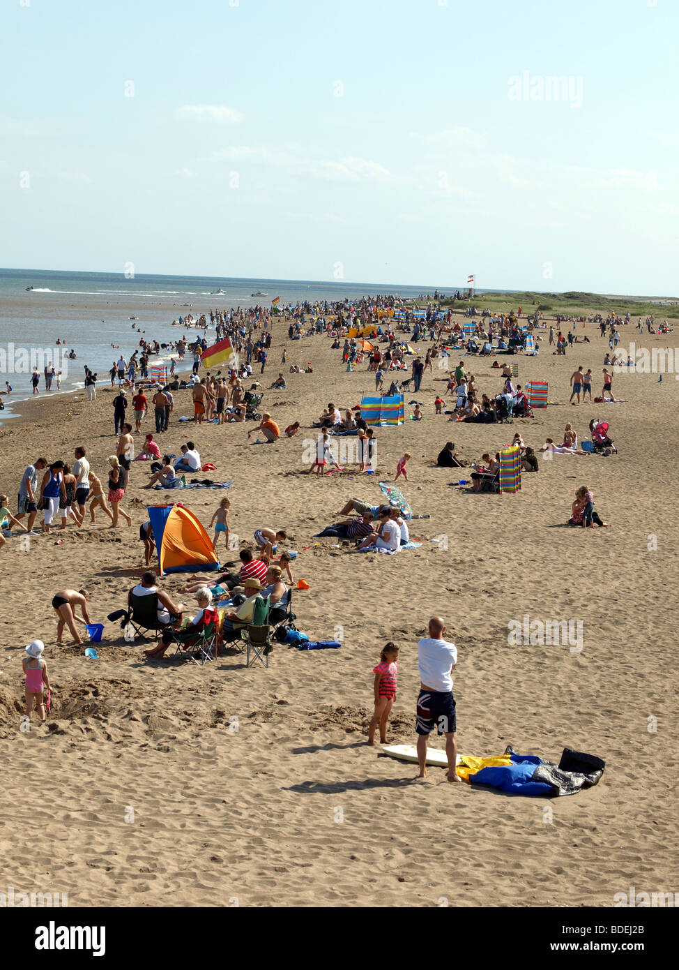 Busy beach at Skegness,Lincolnshire. - Stock Image