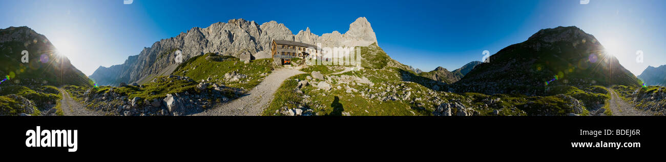 karwendel lamsenjoch mountain alpes alpe PANORAMA panoramic view green grass way blue sky meadow alp mountains forest - Stock Image