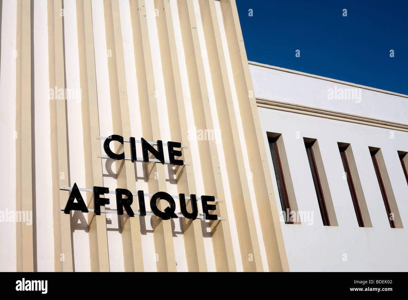 The facade of the old Cine Afrique cinema in Zanzibar's Stonetown - Stock Image