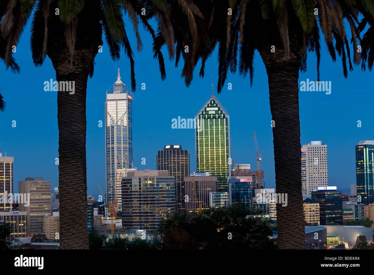 View of the Perth CBD skyline from Kings Park, Western Australia, Australia - Stock Image