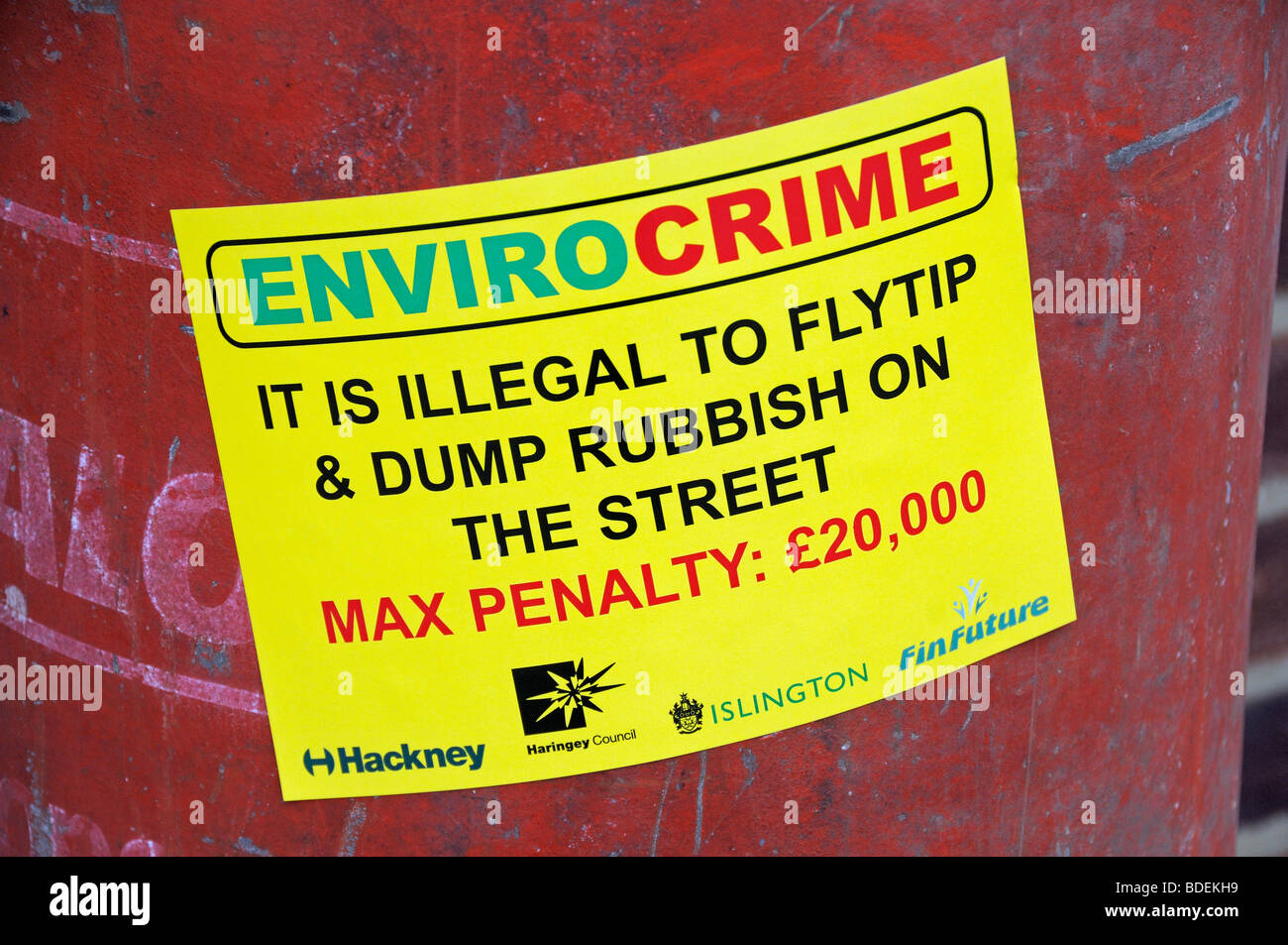 Envirocrime label stuck onto a cylinder with inflammable contents dumped onto a London street England UK - Stock Image