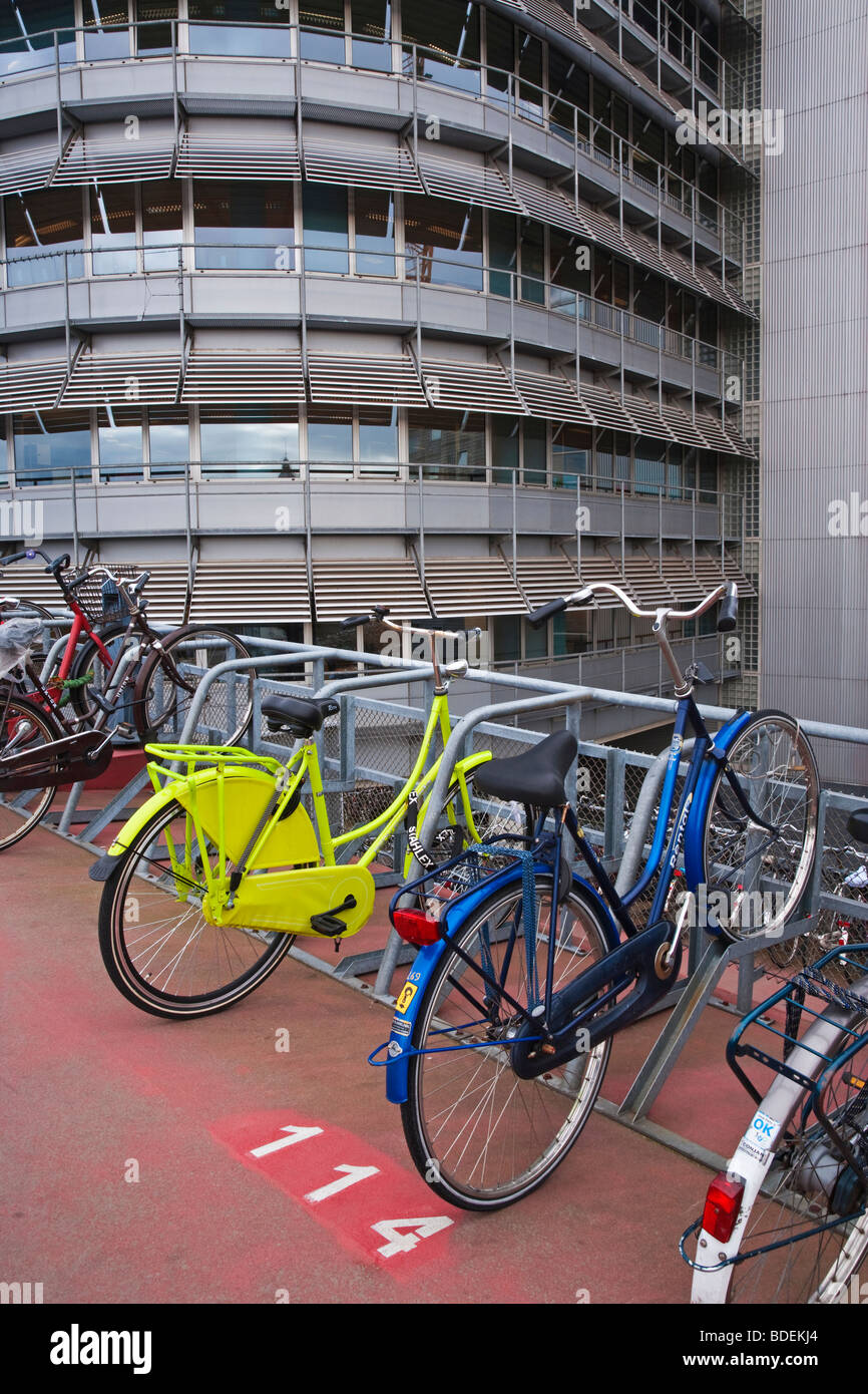 Europe, Netherlands, Holland, Amsterdam, Bicycle park in cental Amsterdam outside the main train station - Stock Image