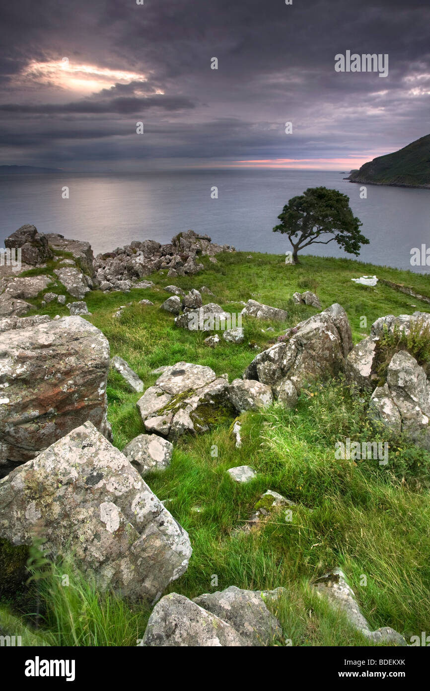Murlough Bay at dusk, Co Antrim, Northern Ireland. - Stock Image