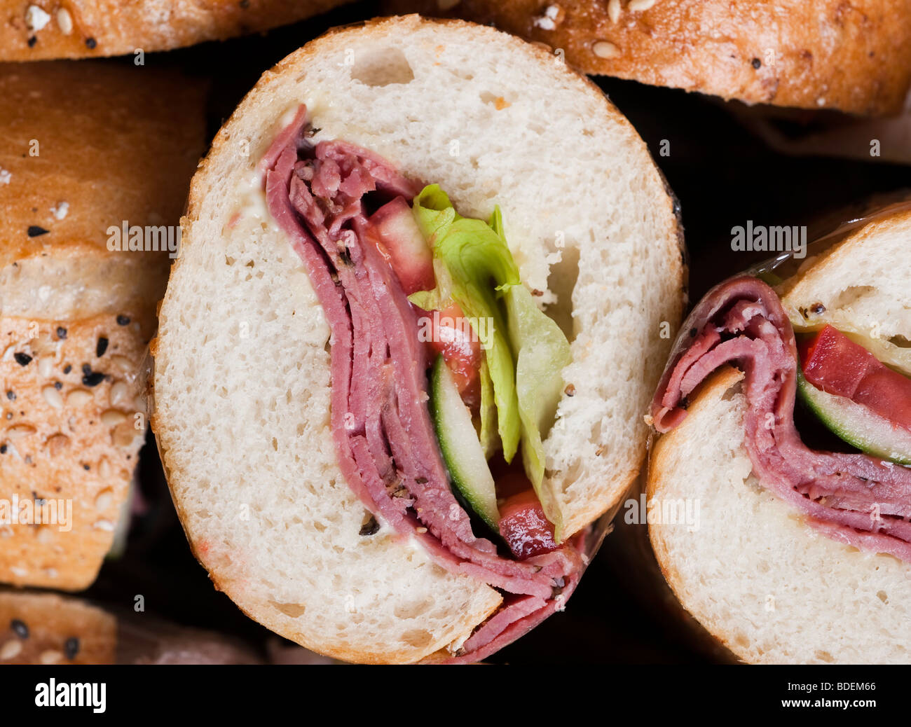 Side view of a pile of sandwiches - Stock Image