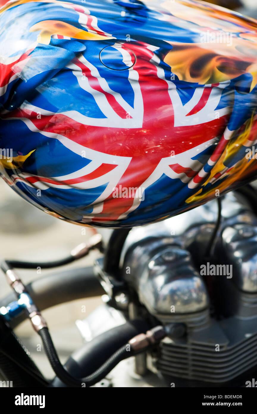 Union Jack fag painted on Custom British chopper motorcycle. UK - Stock Image