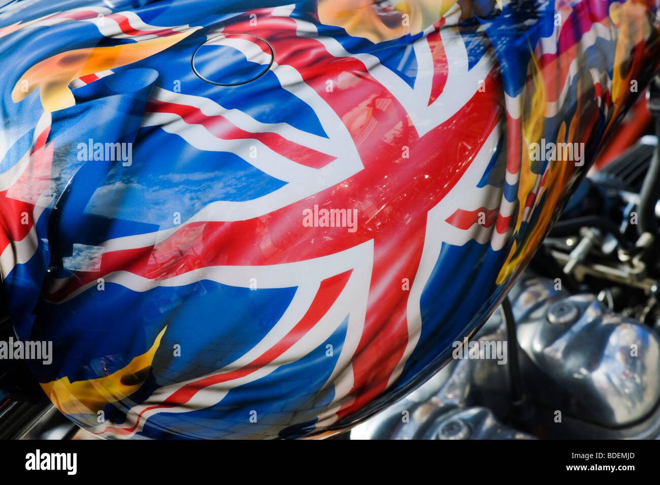 Union Jack fag painted on Custom British Triumph chopper motorcycle - Stock Image