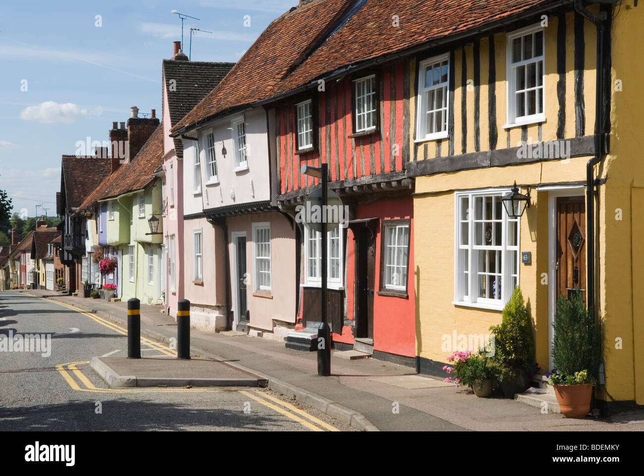 Saffron Walden Essex England Castle Street traditional colourful buildings. HOMER SYKES - Stock Image