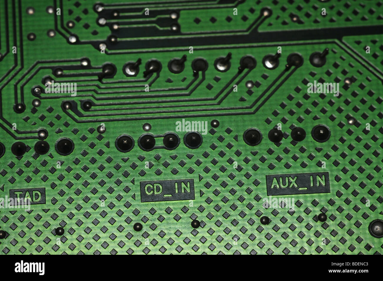 Electronic Printed Circuit Board With Computer Chips Stock Photos Microchips In Old Photo Waste From Computers Image Bdenc3 Rm