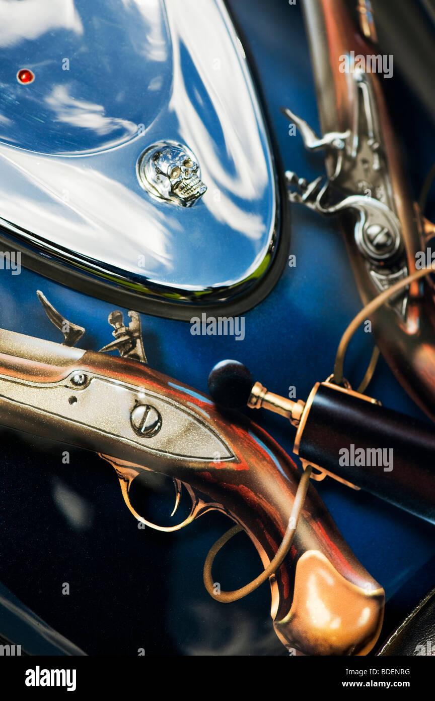 harley davidson motorcycle custom pistol highwayman paint work on stock photo 25525348 alamy. Black Bedroom Furniture Sets. Home Design Ideas