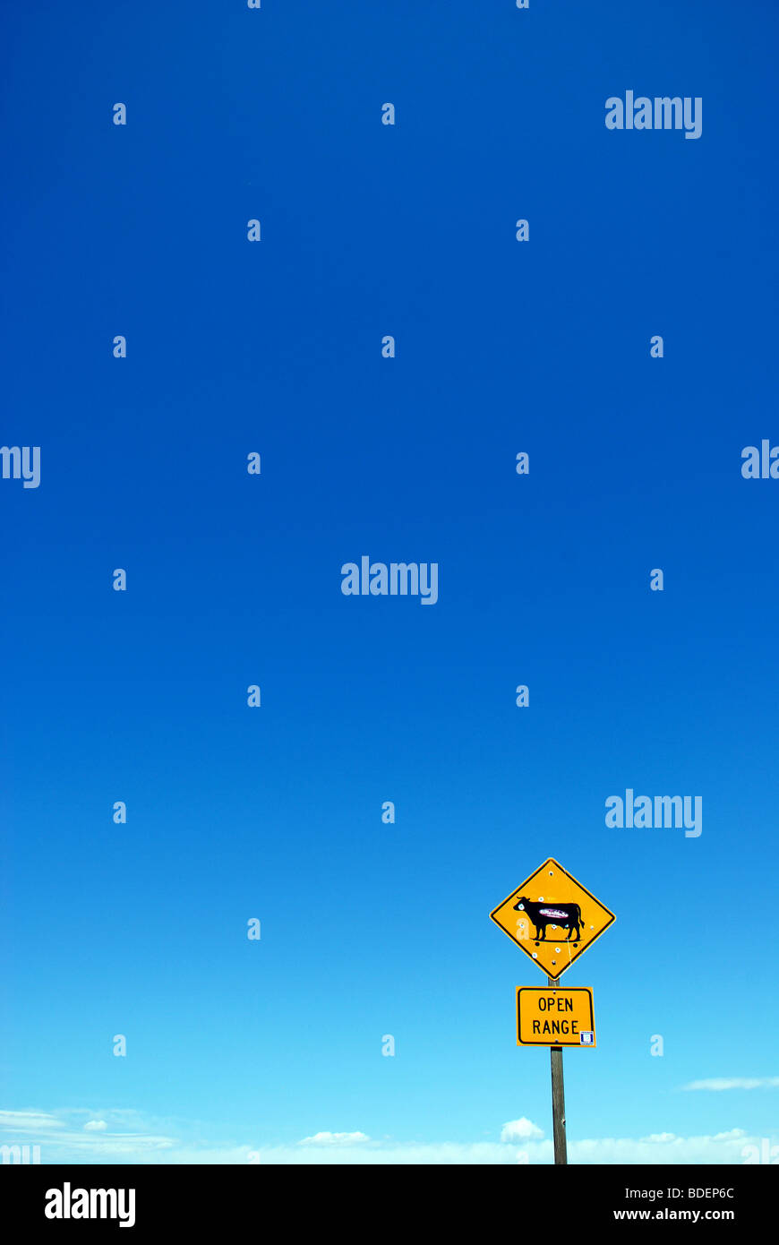 Yellow 'Open Range' traffic sign with bullet holes against clear blue sky. - Stock Image