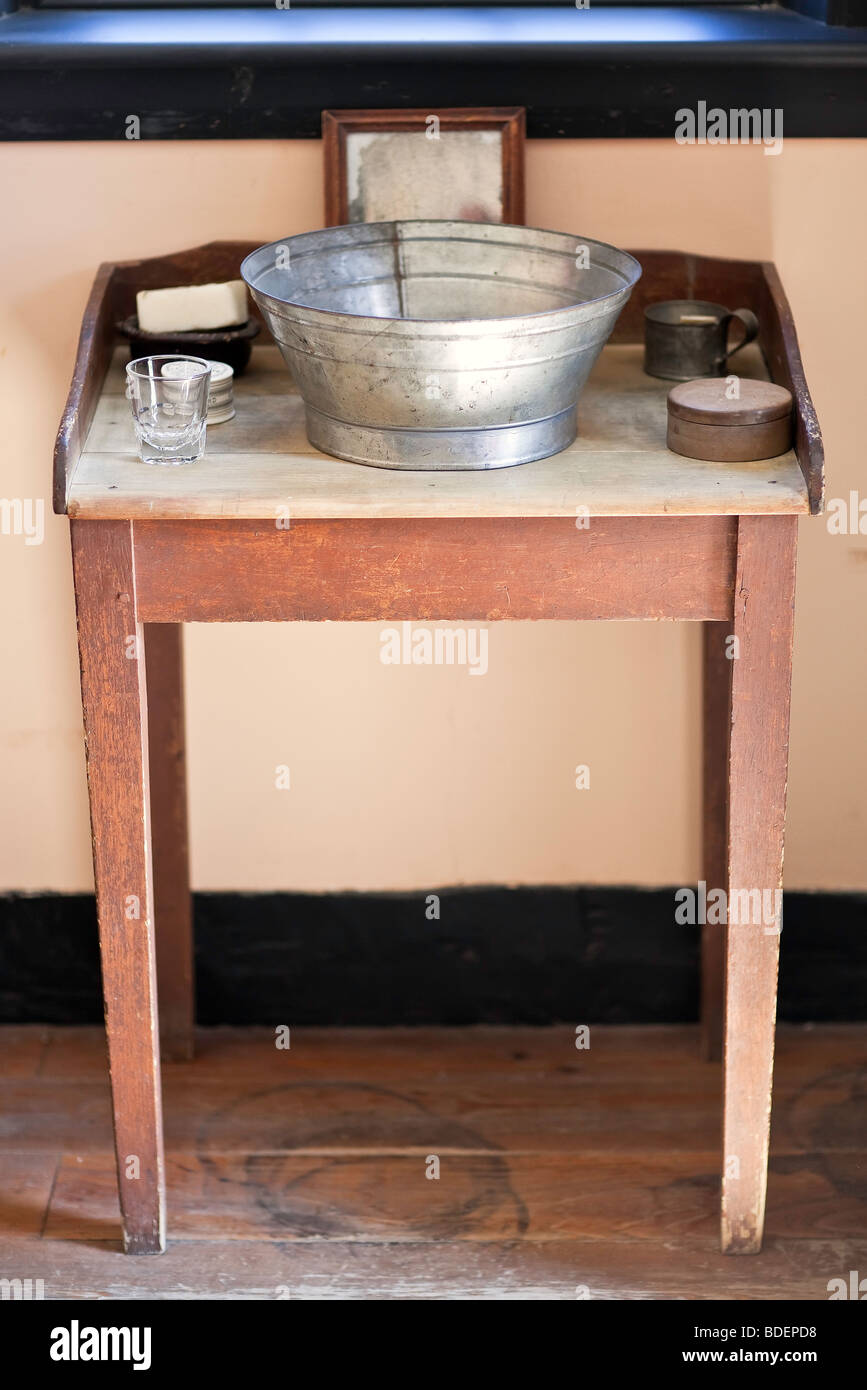19th Century, Wash Table Basin. Lower Fort Garry National Historic Site, Manitoba, Canada. - Stock Image