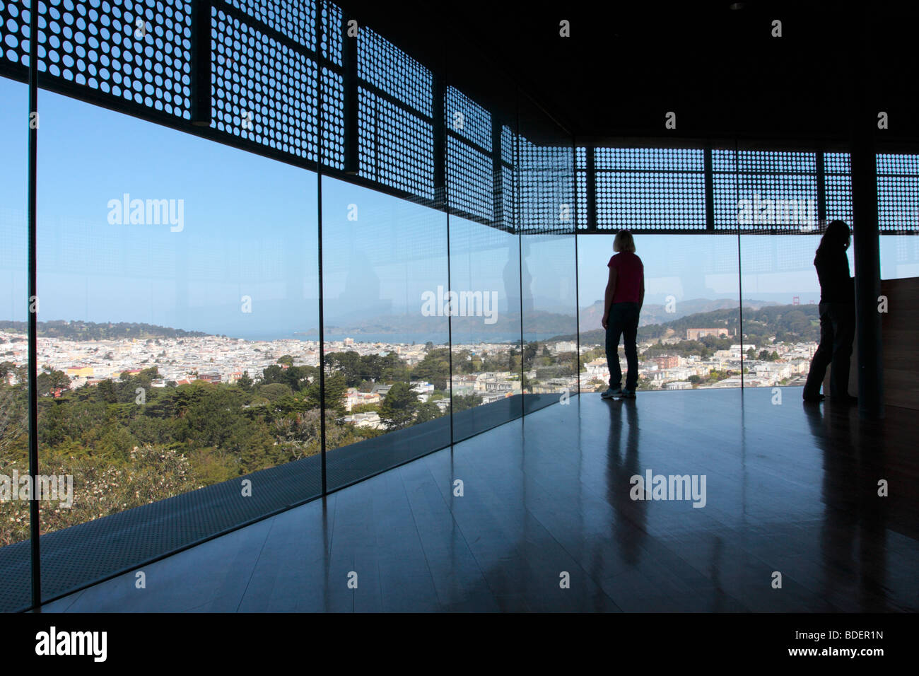 The view from the observation deck on the Hamon tower of the de Young museum in the Golden Gate Park San Francisco - Stock Image