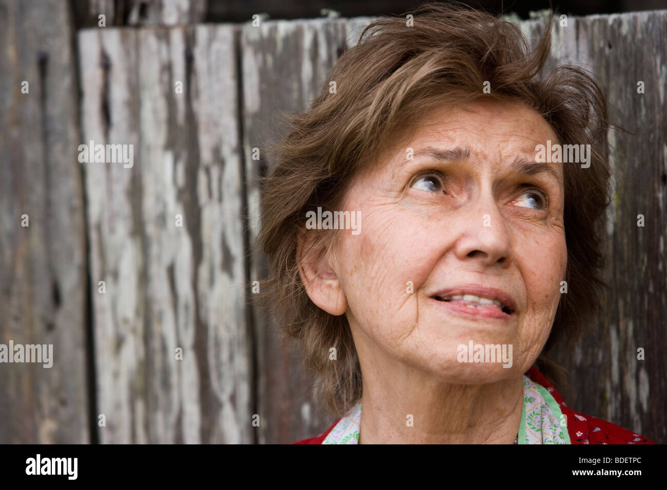 Senior woman by weathered barn worrying - Stock Image