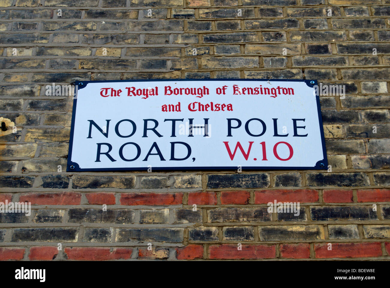 street name sign for north pole road, london w10, england - Stock Image