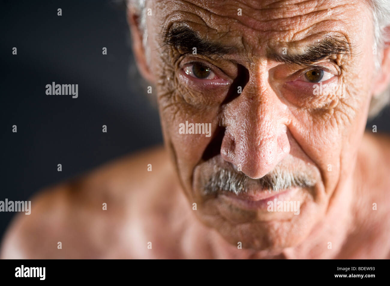 Face of old man - Stock Image