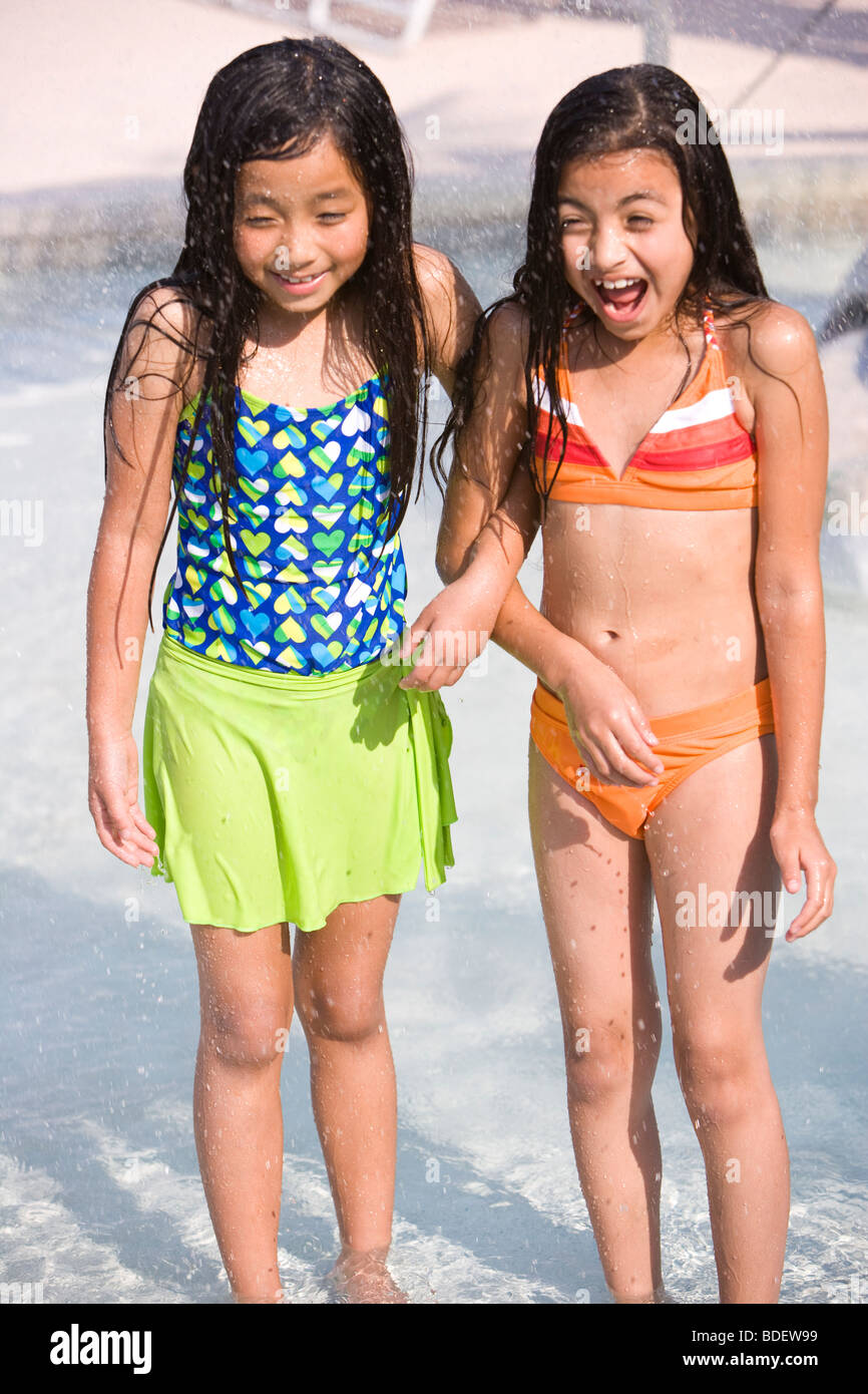 Young water park teens
