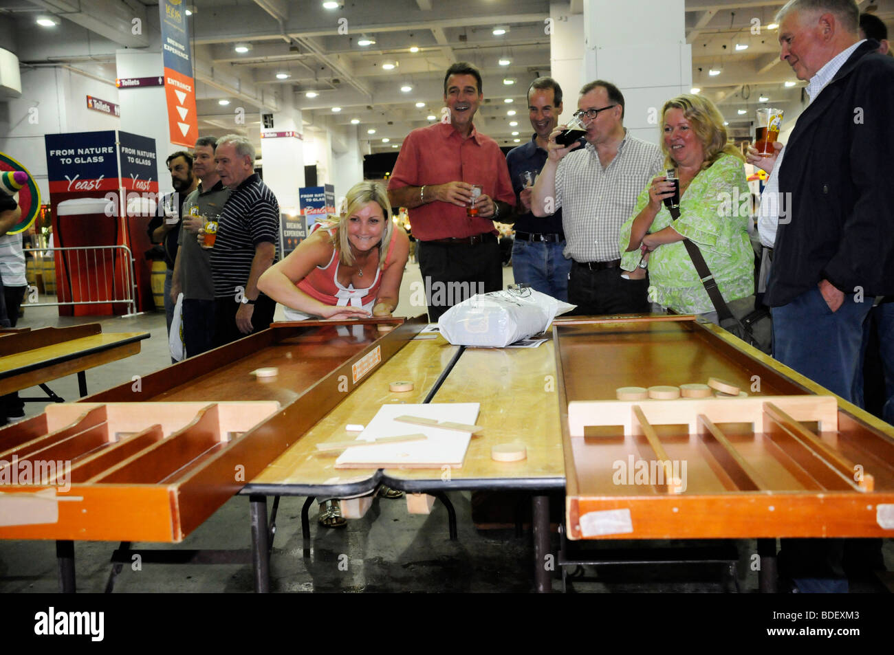 Traditional bar games at the CAMRA Great British Beer Festival, London. - Stock Image