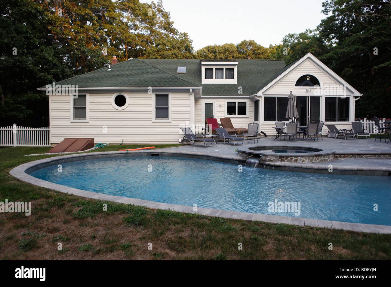 Backyard pool, summer house, Sag Harbor, New York - Stock Image