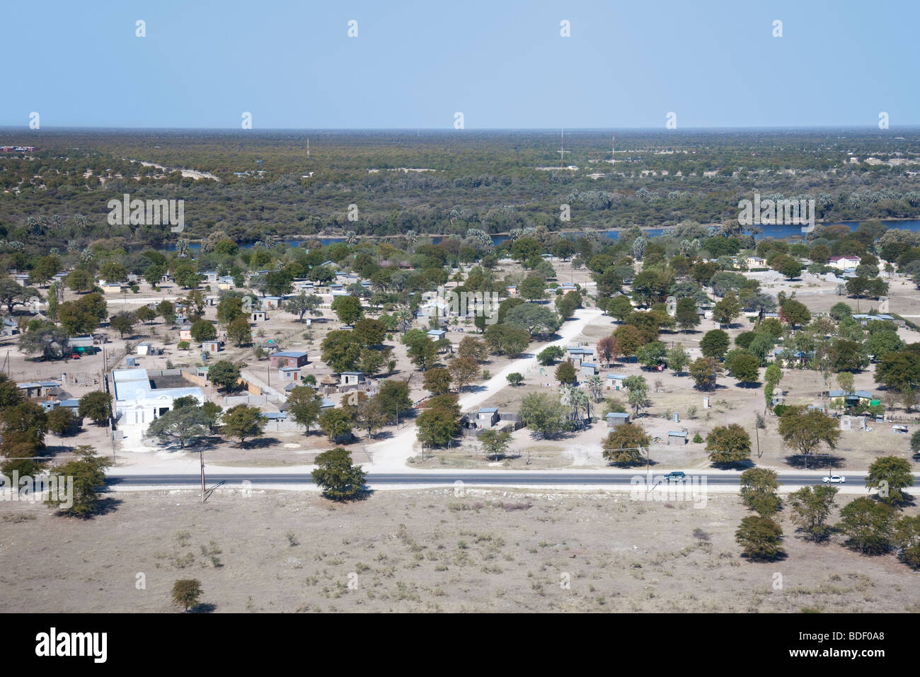 The town of Maun and Thalamakane River in northern Botswana, taken from a small Cessna plane which has just taken - Stock Image