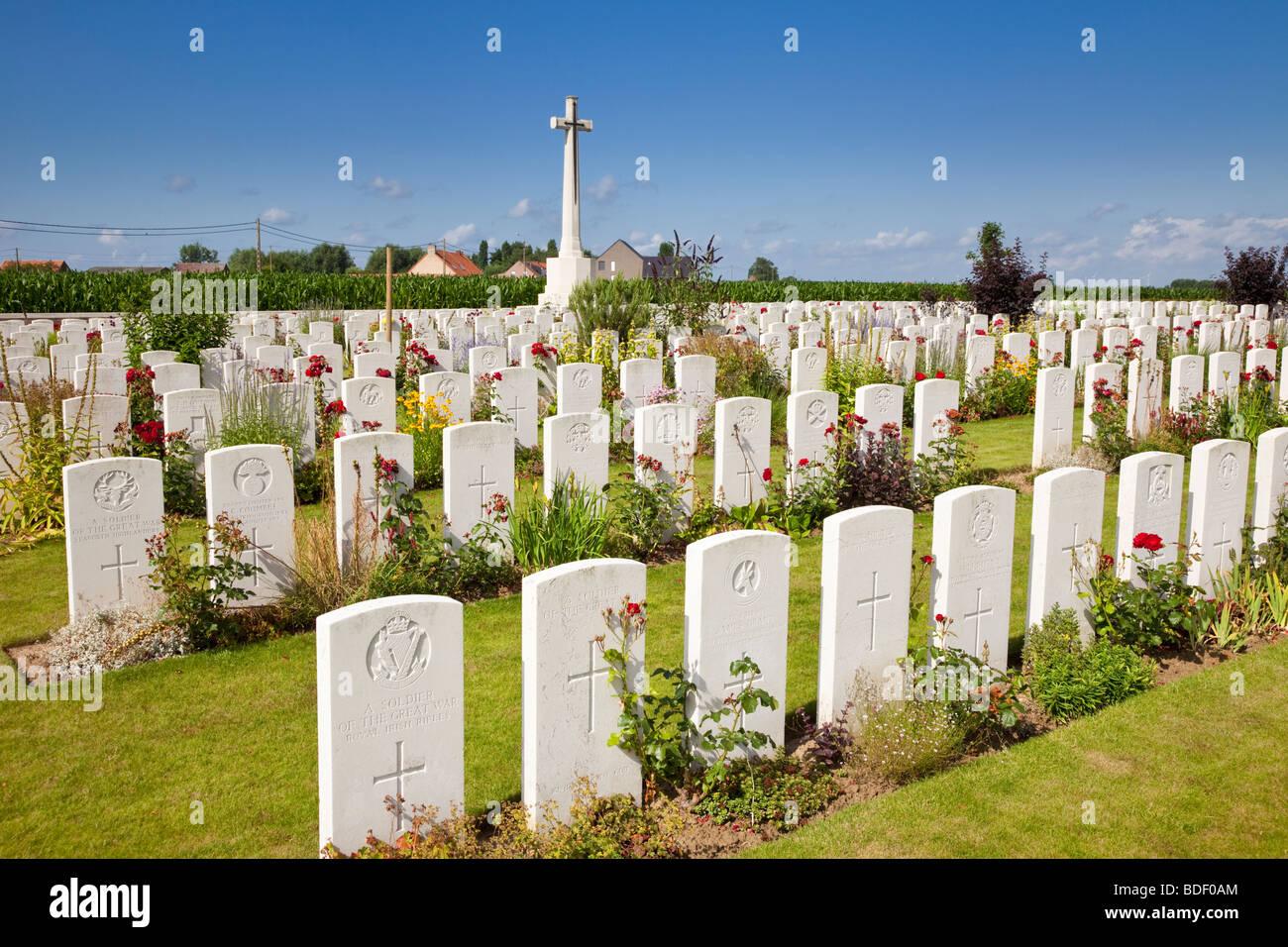 Belgium, Flanders - Dochy Farm World War 1 war graves in the British military cemetery, Ypres, Flanders, Belgium, - Stock Image