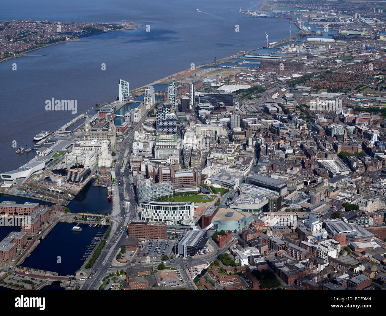 Aerial view of the River Mersey and river mouth, Liverpool, North West England, Summer 2009 - Stock Image