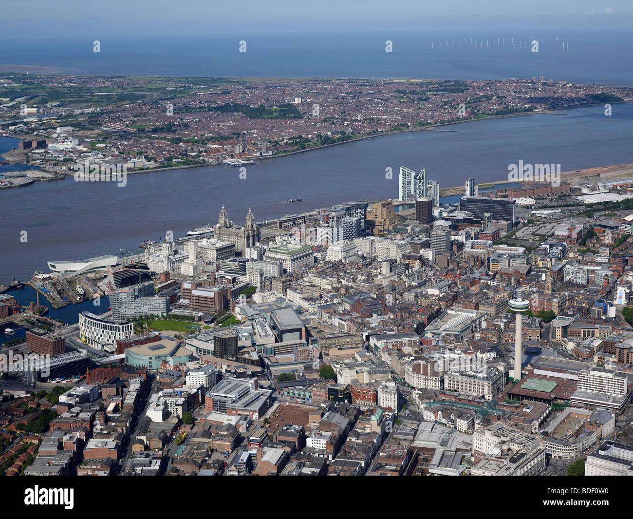 Aerial view of Liverpool, North West England, Summer 2009, looking across the River Mersey with the Irish sea behind - Stock Image