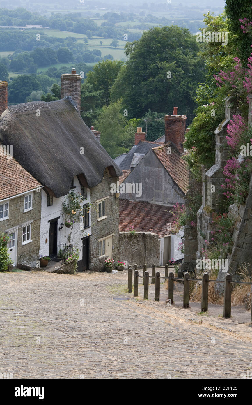 Gold Hill in June, Shaftesbury, Dorset - Stock Image