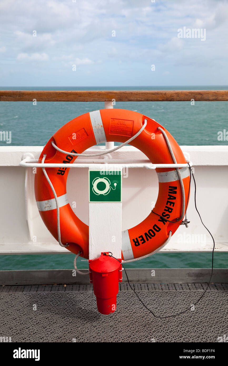 Lifebelt on board a ship UK - Stock Image