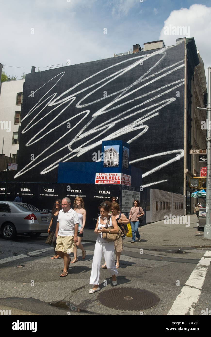 The Scribble mural by the artist Karl Haendel, is seen in the Soho neighborhood of New York - Stock Image