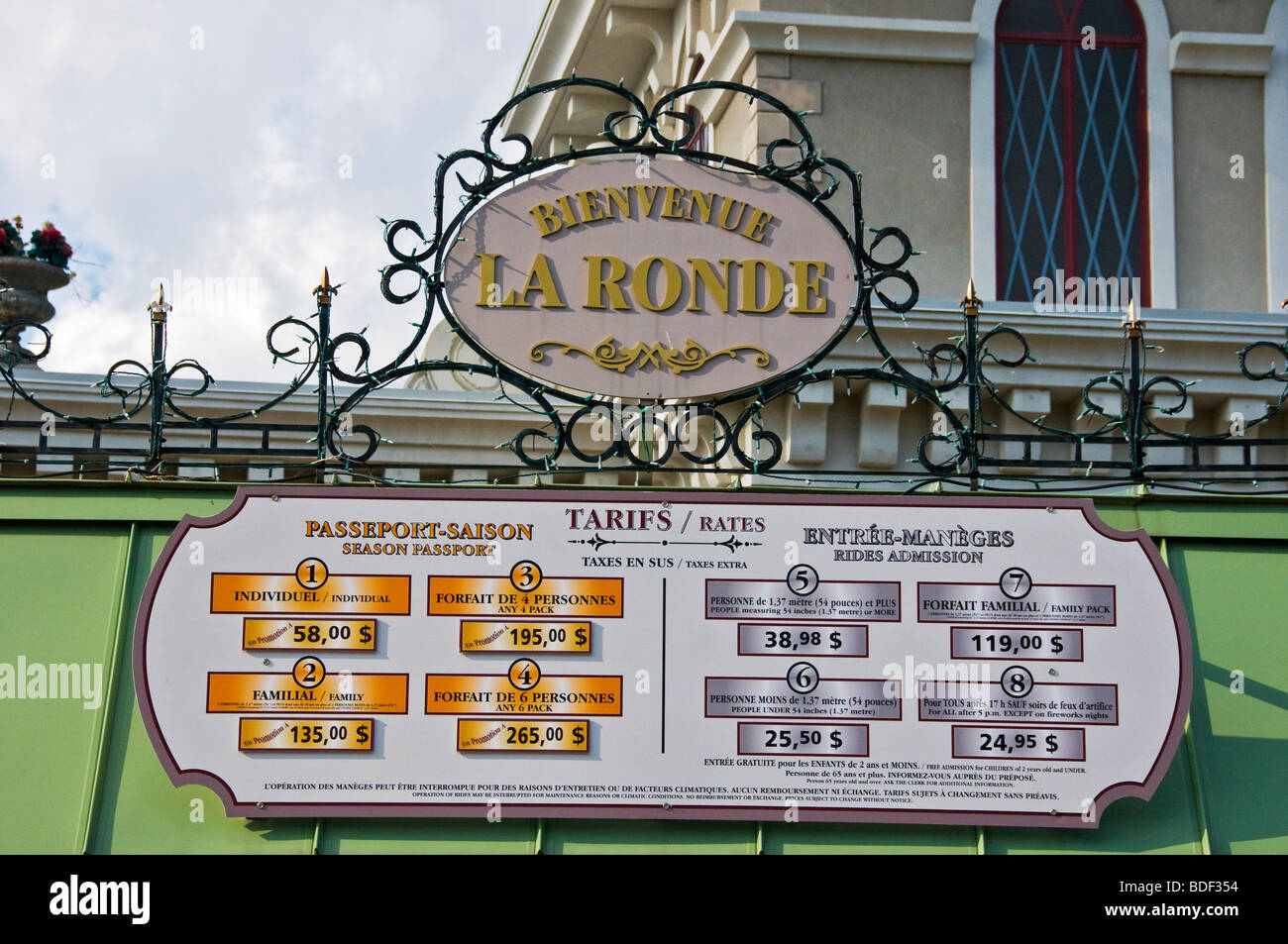 Admissions in La Ronde Entertainment Park Ile Sainte Helene Montreal Canada - Stock Image