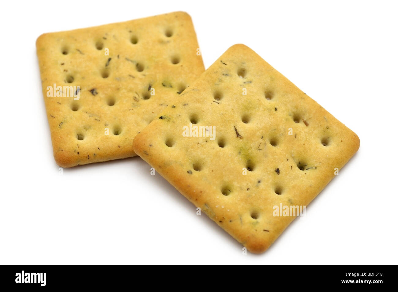 Herb and Onion Flavoured Rich Butter Crackers - Stock Image