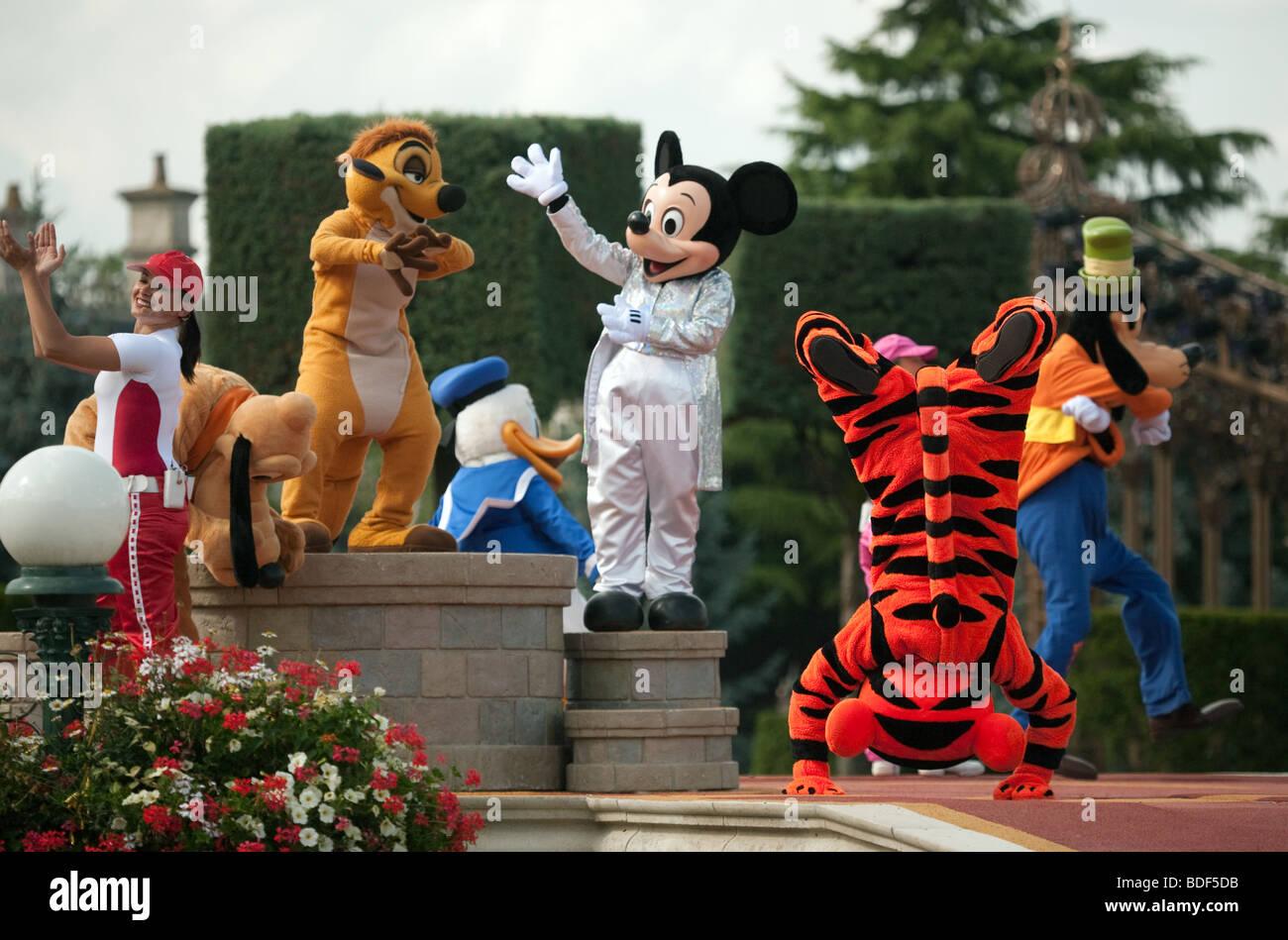 Disney Characters at disneyland, Paris, France - Stock Image