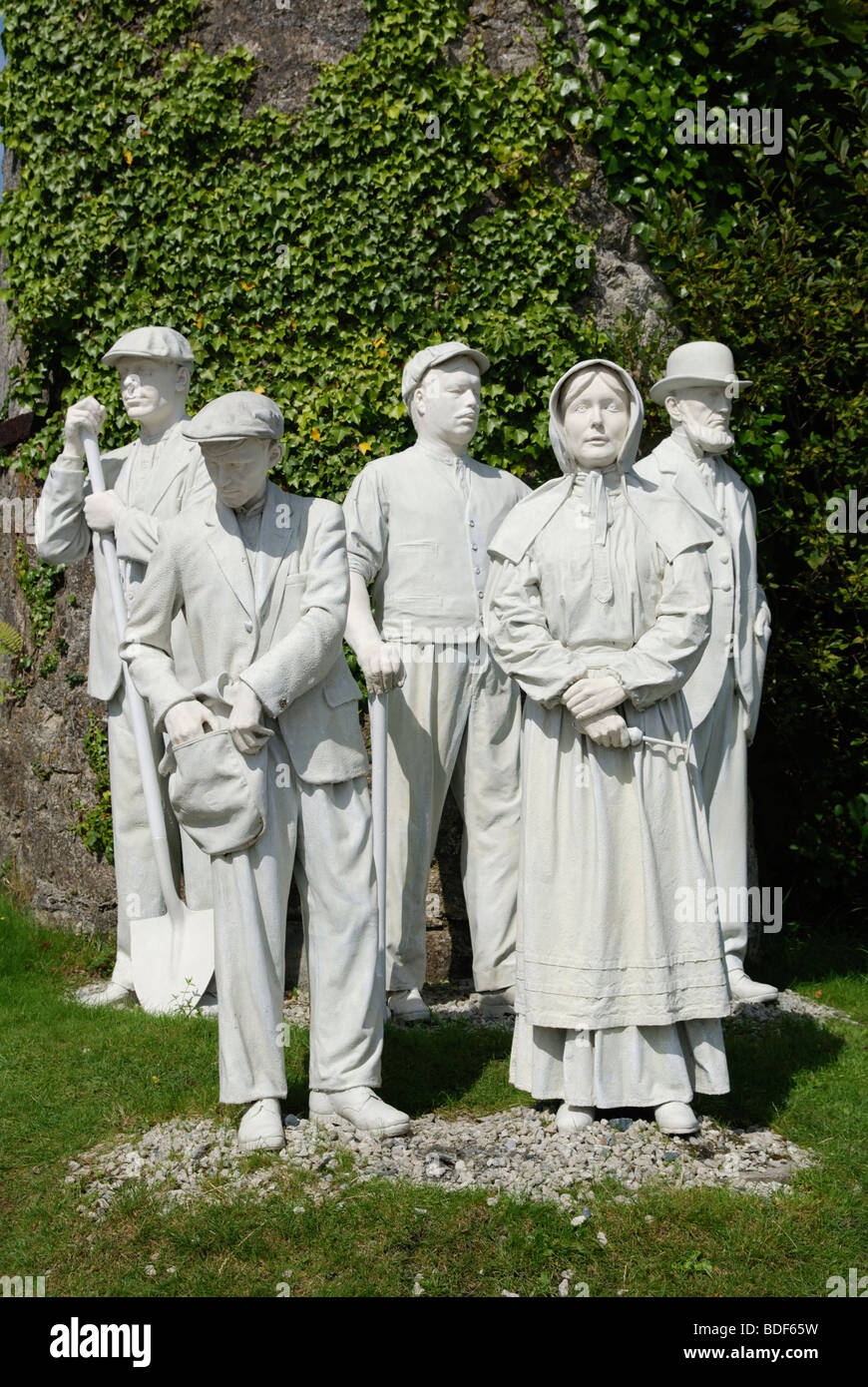 a monument to former workers outside the ' China Clay ' museum near St.Austell in cornwall,england,uk - Stock Image