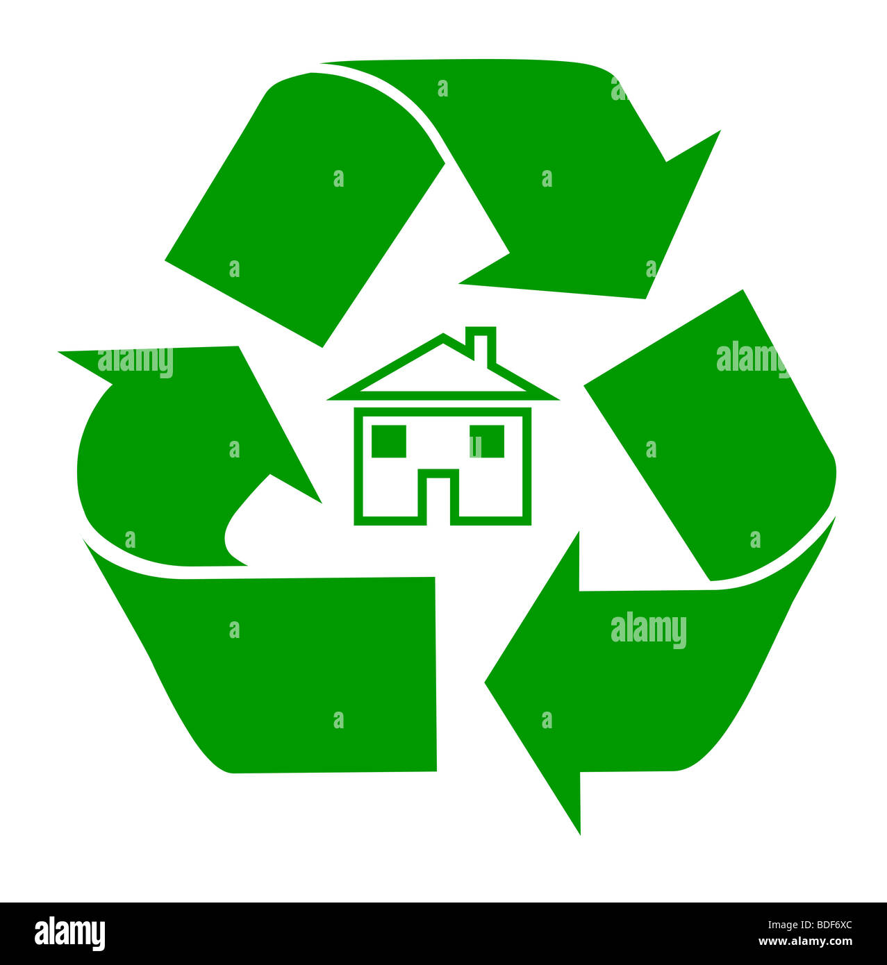 Silhouette of domestic house surrounded by recycling symbol, isolated on white background. - Stock Image