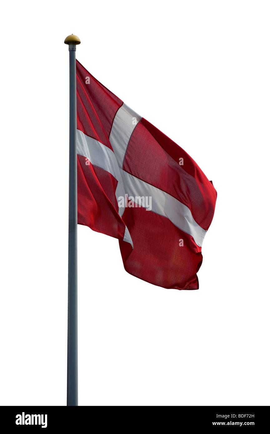 Danish flag isolated on a white background - Stock Image