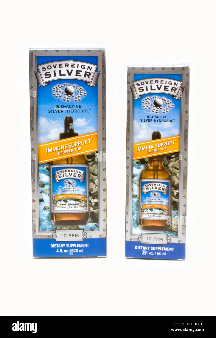 Bio-Active Silver Hydrosol Dietary supplement on white background - Stock Image