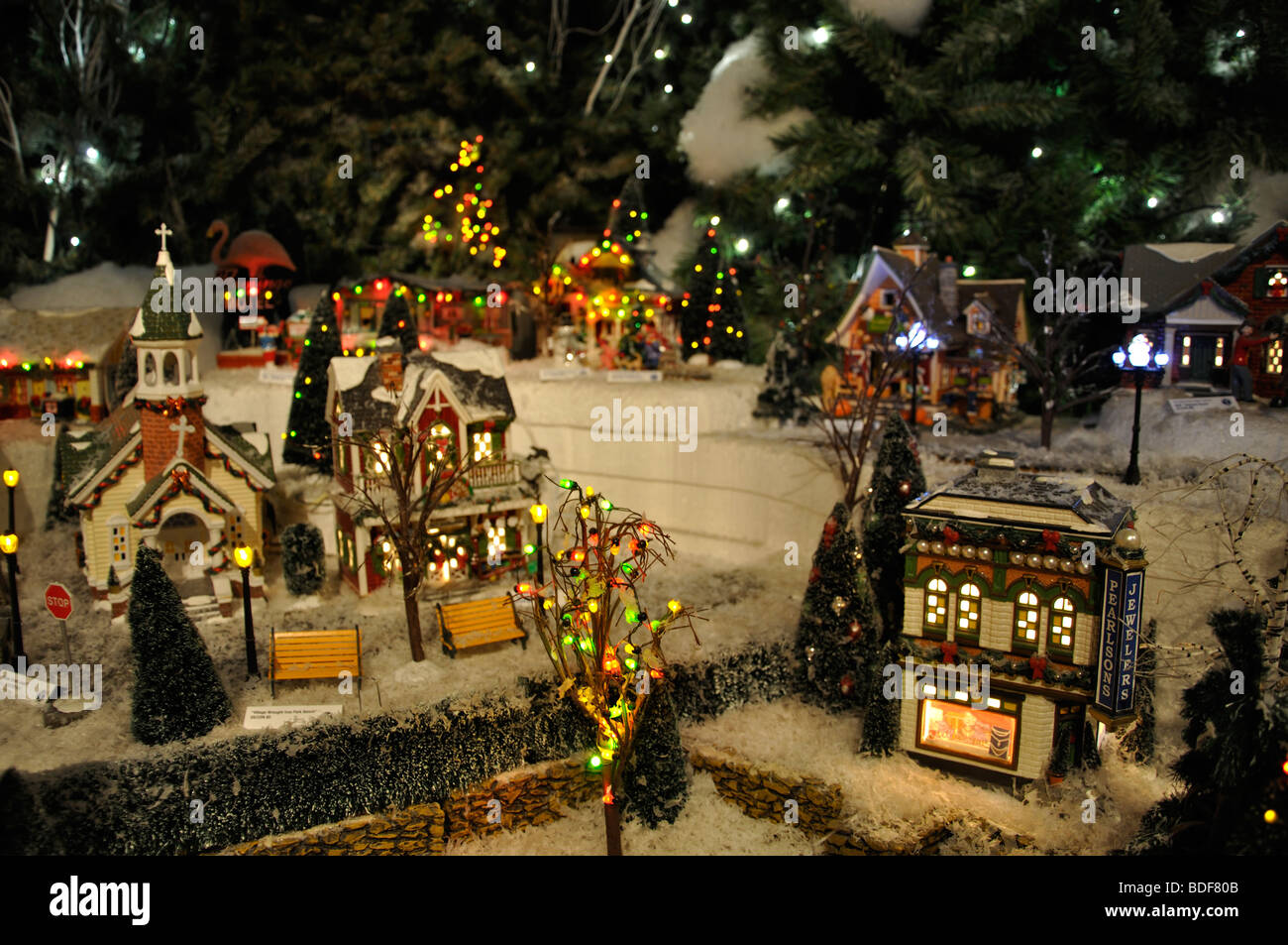 Miniature Christmas Village Toy Houses Decorations Stock Photo