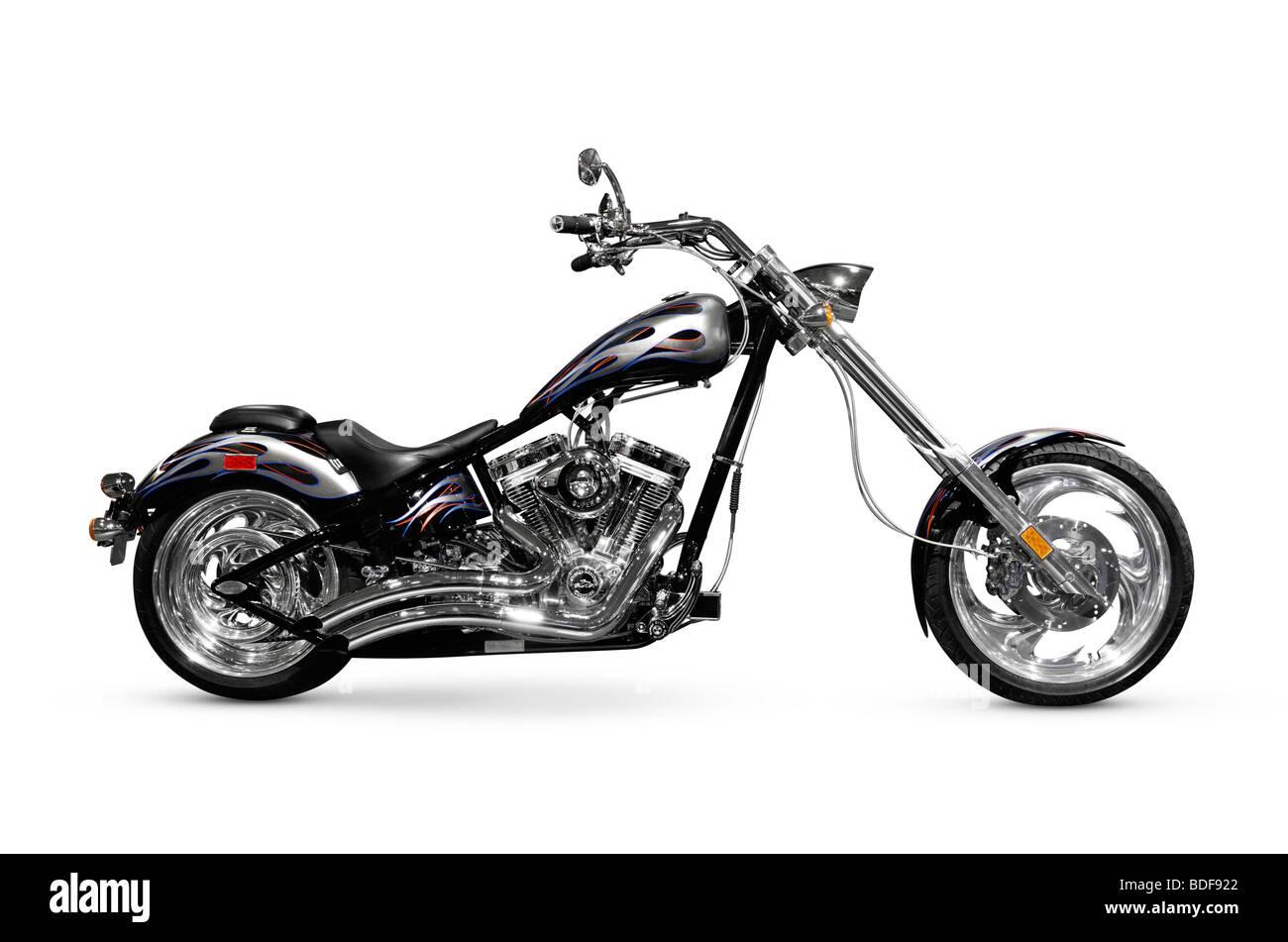 Shiny black with chrome chopper. Customized motorcycle - Stock Image