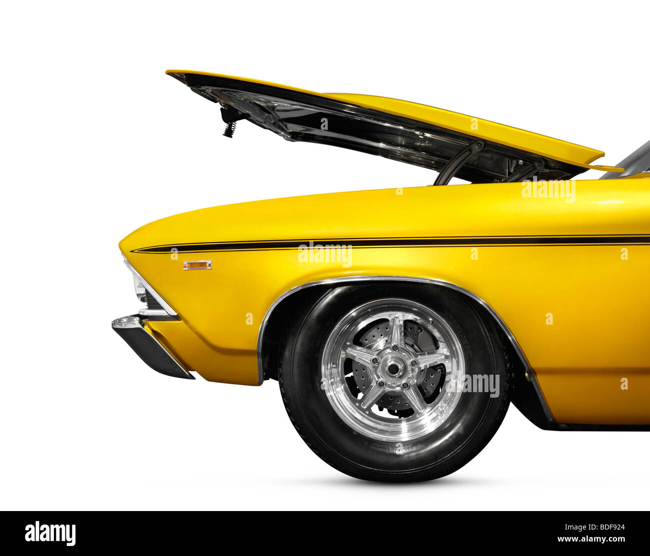 Custom classic car with open hood - Stock Image
